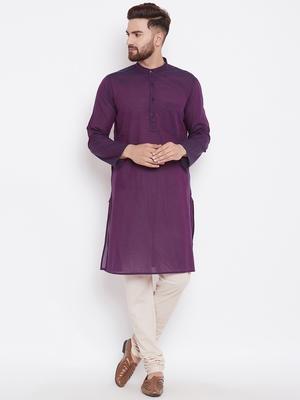 Purple woven pure cotton kurta-pajama