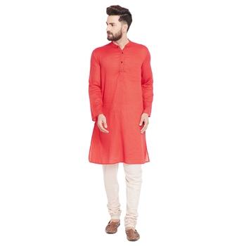 Red woven pure cotton kurta-pajama