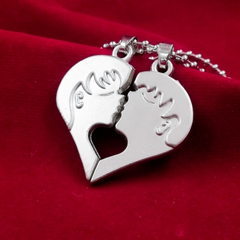 Couple Special Silver Plated Dual Heart Pendant Chain for Girls & Boys Stainless Steel Pendant