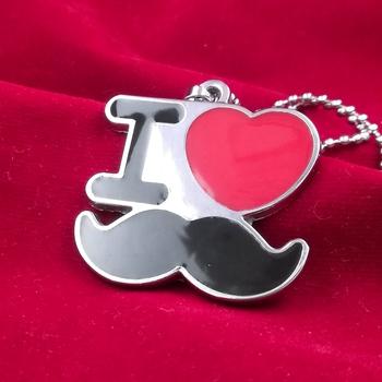 I Love Mustache Locket With Chain For Men & Boy S Silver Brass Locket
