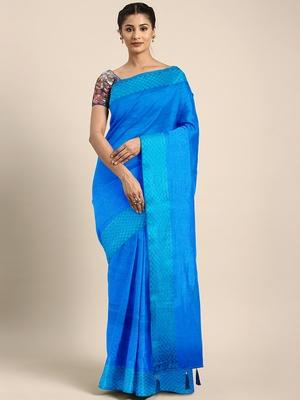 Blue printed art silk saree with blouse