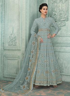 Light-blue embroidered georgette salwar