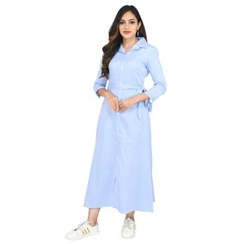 Women's Cotton Blue Striped Shirt Style Dress