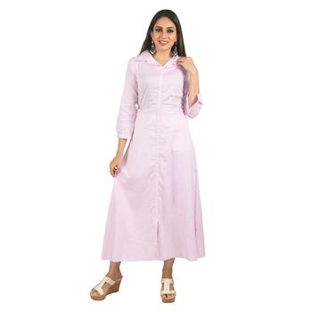 Women's Cotton Pink Striped Shirt Style Dress