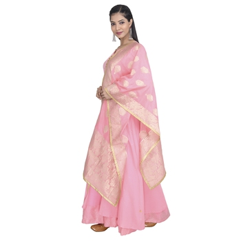 Vedic Women's Pink Silk Dupatta