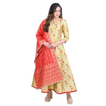 Vedic Women's Red Silk Dupatta