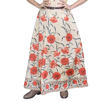 Women's Beige Floral Silk Skirt