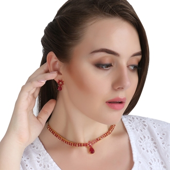 Party Wear Cubic Zirconia Traditional Necklace Set For Women & Girls