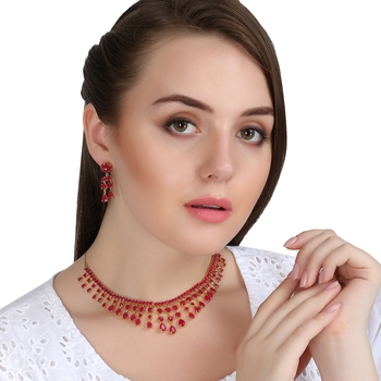 Penny Jewels Party Wear Cubic Zirconia Traditional Necklace Set For Women & Girls
