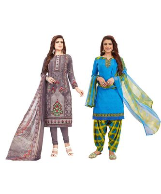 Combo Of 2 Synthetic Multicolor Printed Women's Salwar Suit Dress Material With Dupatta