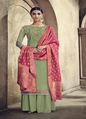 Mehendi embroidered cotton silk salwar