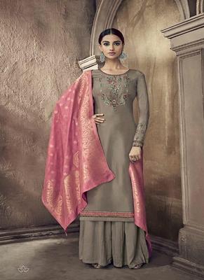 Slate-grey embroidered cotton silk salwar