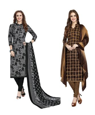 Combo Of 2 Cotton Multicolor Printed Women's Salwar Suit Dress Material With Dupatta