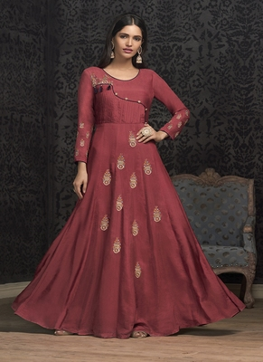 Crimson Embroidered Silk Blend Salwar