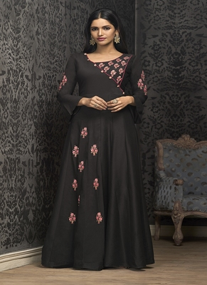Black embroidered silk blend salwar