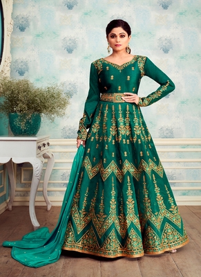 Teal embroidered silk blend salwar