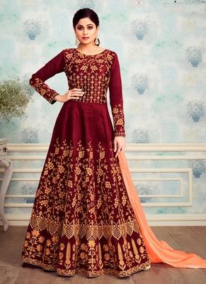 Maroon embroidered silk blend salwar