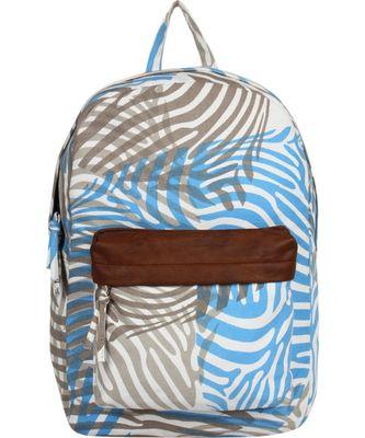 Zebra Blue Canvas Backpack
