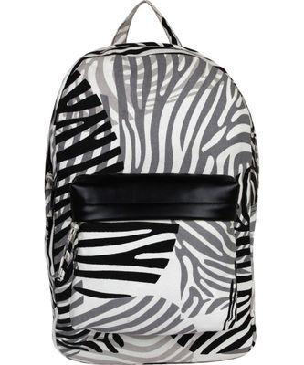 Zebra Black Canvas Backpack
