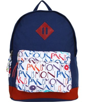 Paris Blue Canvas Backpack