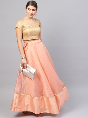 Peach Chanderi Cotton Woven Flared Skirt