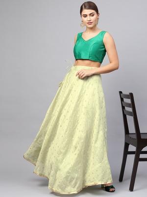 Green Chanderi Cotton Woven Flared Skirt