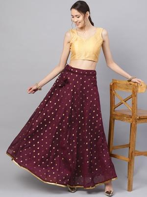 Wine Chanderi Cotton Woven Flared Skirt