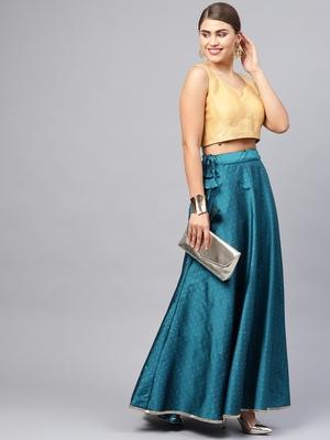 Teal Silk Blend Zari Embellished Flared Skirt