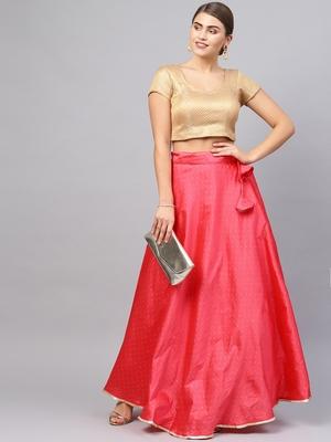 Pink Silk Blend Zari Embellished Flared Skirt