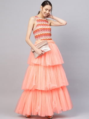 Peach Net Solid Layered Skirt