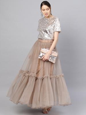 Brown Net Solid Ruffle Skirt