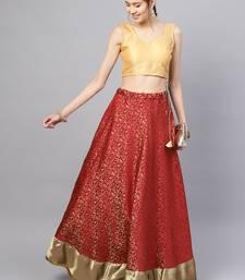Maroon Silk Blend Woven Flared Skirt