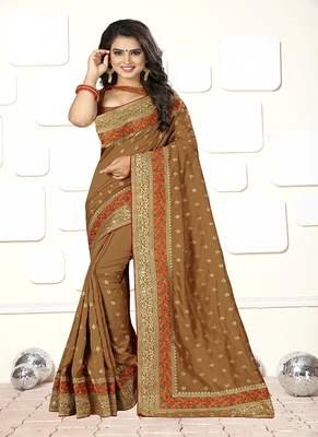 Brown embroidered art silk blend saree with blouse