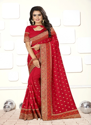 rose embroidered art silk blend saree with blouse
