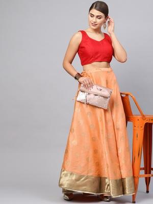 Peach Silk Blend Woven Flared Skirt