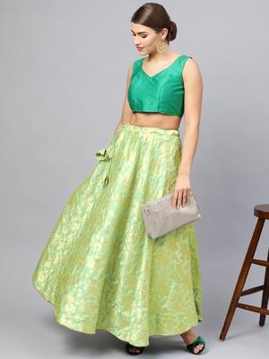 Green Silk Blend Woven Flared Skirt