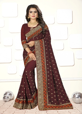 dark brown embroidered art silk blend saree with blouse