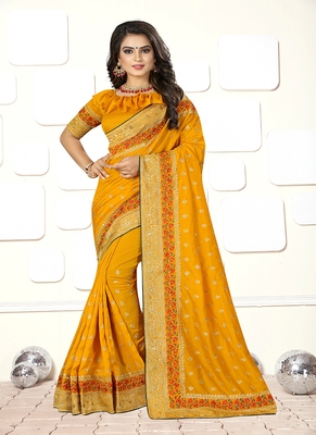 Yellow embroidered art silk blend saree with blouse
