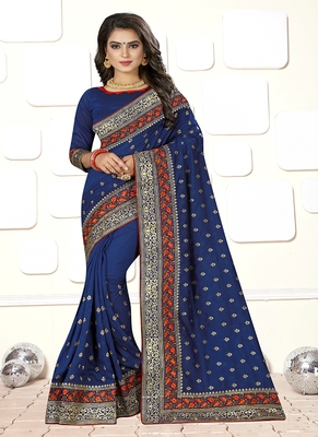 Blue embroidered art silk blend saree with blouse
