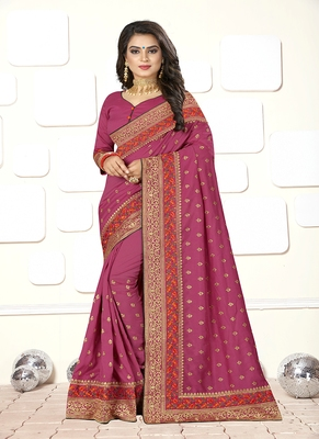 Pink embroidered art silk blend saree with blouse