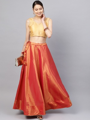 Red Silk Blend Woven Flared Skirt