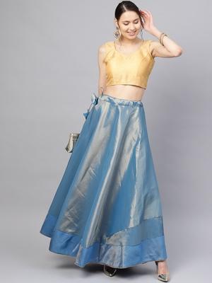 Blue Silk Blend Woven Flared Skirt