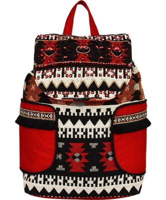 Nava Red Cotton Backpack