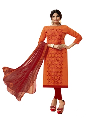 Orange embroidered chanderi silk salwar