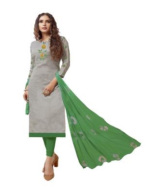 Grey embroidered chanderi silk salwar
