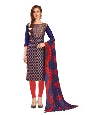 Navy-blue woven banarasi unstitched salwar with dupatta