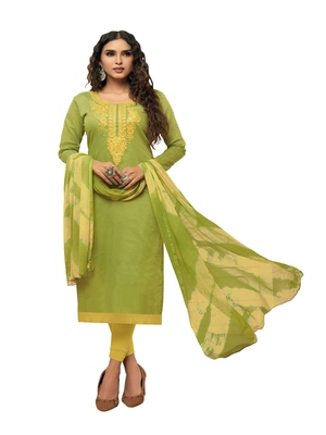 Light-green embroidered chanderi silk salwar