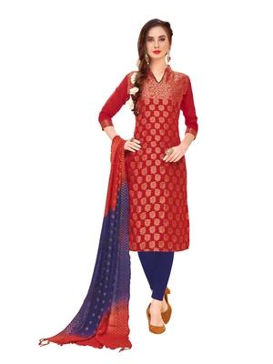 Maroon woven banarasi unstitched salwar with dupatta