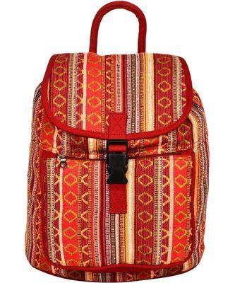 Nava Orange Jacquard Backpack