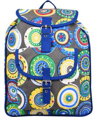 Florid Blue Multicolor Canvas Backpack